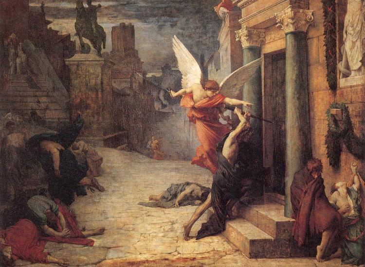 Ο άγγελος του θανάτου χτυπά μία πόρτα κατά τη διάρκεια του Λοιμού των Αντωνίνων. Πίνακας του Jules-Elie Delaunay (1869)