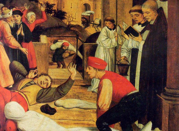 Ο Άγιος Σεμπαστιάν προσεύχεται για τα θύματα της πανώλης. Πίνακας του Josse Lieferinxe (περί το 1498