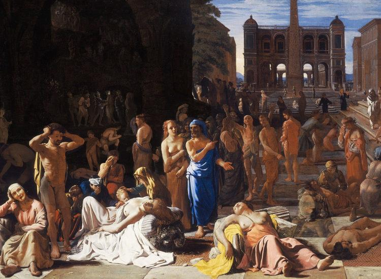 """""""Λοιμός σε αρχαία πόλη"""", πίνακας του Μίχιελ Σβέιρτς (17ος αιώνας), ο οποίος θεωρείται πως αναφέρεται στο Λοιμό των Αθηνών"""