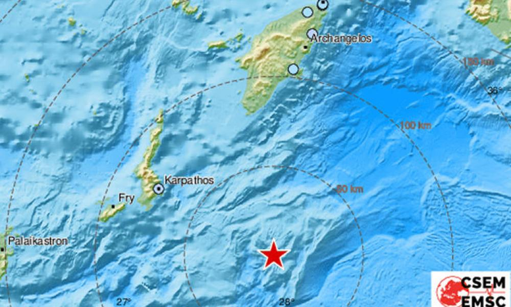 Iσχυρός σεισμός 5,9 Ρίχτερ κοντά σε Ρόδο & Κάρπαθο - Eίχε εστιακό βάθος 2 χιλιομέτρων!