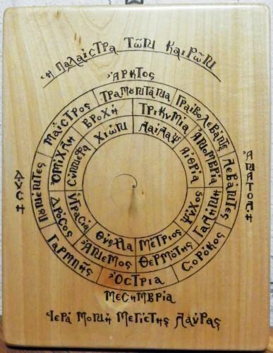 Αγιορείτικο Βαρόμετρο. Πυρογραφία. διαστάσεις 20Χ25. δια χειρός Ευσταθίου Μοναχού.