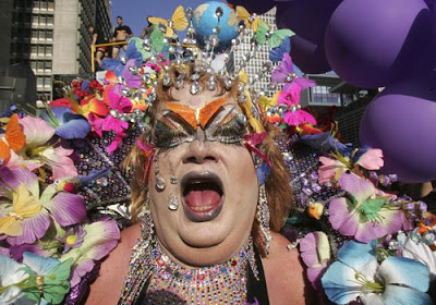 Reveller, Gay Pride Parade, Sao Paulo, Brazil by Andre Penner