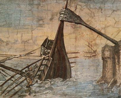 Πίνακας με το «Νύχι» του Αρχιμήδη από τον Giulio Parigi που έπειτα ονομάστηκε το «Σιδερένιο Χέρι» κυριολεκτικά.
