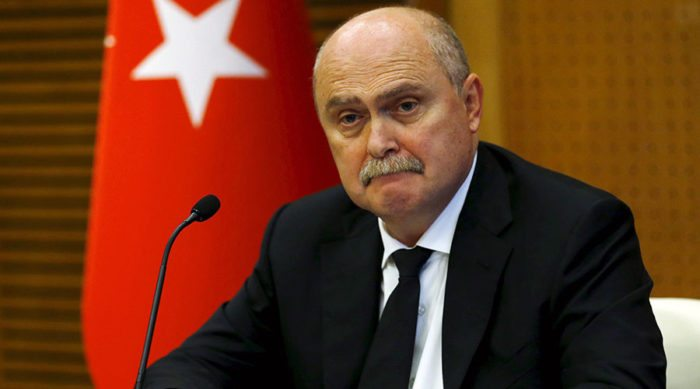 Turkish Foreign Minister Feridun Sinirlioglu addresses the media in Ankara, Turkey, October 16, 2015. REUTERS/Umit Bektas - RTS4Q7Z